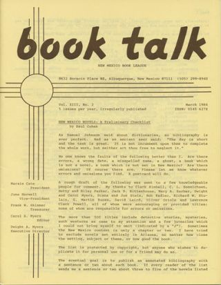 Book Talk. Vol. XIII, No. 2. March 1984. New Mexico Novels: A Preliminary Checklist. New Mexico...
