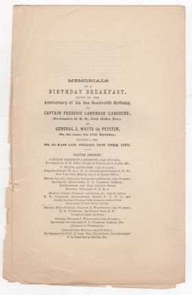 Memorials of a Birthday Breakfast, given on the Anniversary of his One Hundredth Birthday, to...