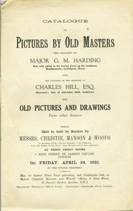 Catalogue of Pictures by Old Masters the Property of Major G.M. Harding, ... also ...Charles...