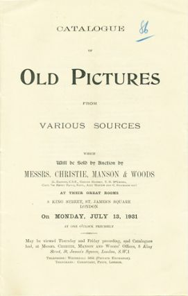 Catalogue of Old Pictures from Various Sources. Monday, July 13, 1931. Lot 86. Manson Christie,...