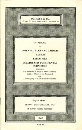 Catalogue of Oriental Rugs and Carpets, Textiles, Tapestries, English and Continental Furniture...