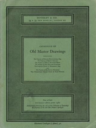 Catalogue of Old Master Drawings. Thursday 28th June 1962. Sotheby's