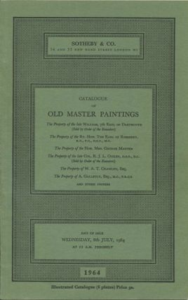 Catalogue of Old Master Paintings. The Property of the late William, 7th Earl of Dartmouth ......