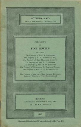 Catalogue of Fine Jewels...Thursday, November 25th, 1965. Sotheby's