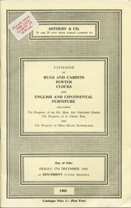 Catalogue of Rugs and Carpets, English and Continental Pewter and Brass Alms Dishes, Clocks and...