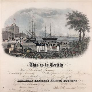 American Seaman's Friend Society Membership Certificate. New York City