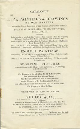 Catalogue of Oil Paintings & Drawings by Old Masters. Wednesday, December 13, 1933. Sotheby's