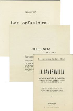 Prospectus and two printed poems]. Buenaventura Caviglia