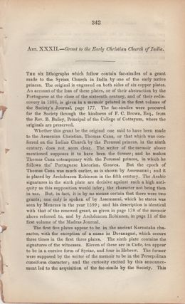"""Grant to the Early Christian Church of India,"" [from] Journal of the Royal Asiatic Society. VII,..."