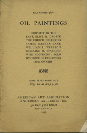 Oil Paintings by Nicolas Berchem, Pierre Mignard, Oudry Van Huysum, Ribera, John Constable, Romney, Ranger, Bunce, Blakelock, Murphy, Ryder, Inness, Sully, Chase, Monet, and the Barbizon School. Sale No. 3846. May 1, 1930. Anderson Galleries American Art Association.