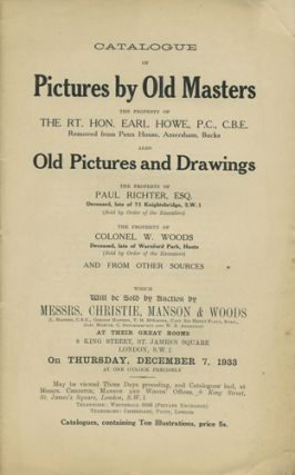 Catalogue of Pictures by Old Masters. ... Also Old Pictures and Drawings. Thursday, December 7,...