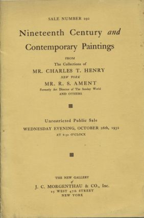 Sale No. 292. Nineteenth Century and Contemporary Paintings. From the Collections of Mr. Charles...