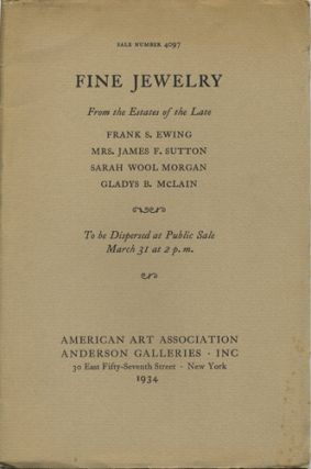 Diamond jewelry; pearl necklaces. Sale no. 4097. March 31, 1934. Anderson Galleries American Art...