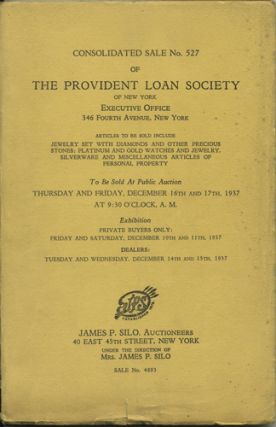 Consolidated Sale No. 527 of the Provident Loan Society. Articles to be sold include Jewelry set...