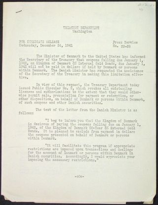 Press Service No. 29-28, For Immediate Release Wednesday, December 24, 1941. The Minister of...