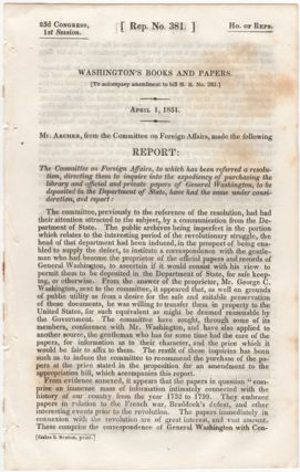 Washington's Books and Papers. (To accompany amendment to bill H.R. no. 283.). April 1, 1834....