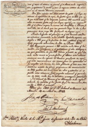 Manuscript. 19th c. Expansion of Philippine Cuban Trade]. Real Tribunal de Comercio de Manila