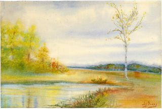 Watercolor. Marsh in Autumn. Boston area. 19th c.]. W. Gurry, William