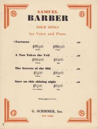 Nocturne [from] Samuel Barber: Four Songs for Voice and Piano. Frederic. Barber Prokosch, Samuel.