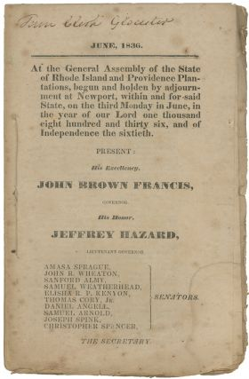 June, 1836. At the General Assembly of the State of Rhode Island and Providence Plantations,...