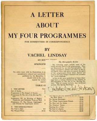 A Letter about my Four Programmes, for Committees in Correspondence [with holograph revisions]....