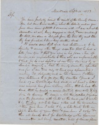 Two Manuscript Letters Signed Concerning Political Maneuvers at the Sullivan County, NY,...