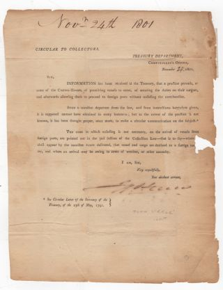 Circular to Collectors. Treasury Department. Comptroller's Office, November [24 in manuscript],...