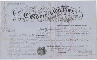 Printed document completed in manuscript and signed] City of New York, ss: By C. Godfrey Gunther,...