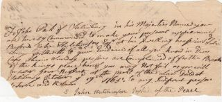 Manuscript Writ Signed] Vermont Justice of the Peace John Hutchinson Summons John Peck the Breach...