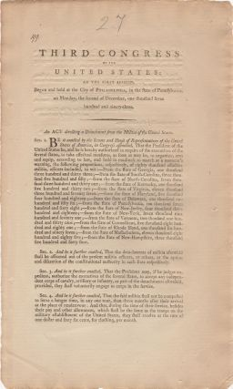 Third Congress of the United States: At the first session, begun and held at the city of Philadelphia, in the state of Pennsylvania, on Monday, the second of December, one thousand seven hundred and ninety-three. An Act directing a detachment from the militia of the United States.