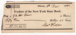 Autograph] Signed Check of Charles D. Cooper, the New York Politician who Spurred the...