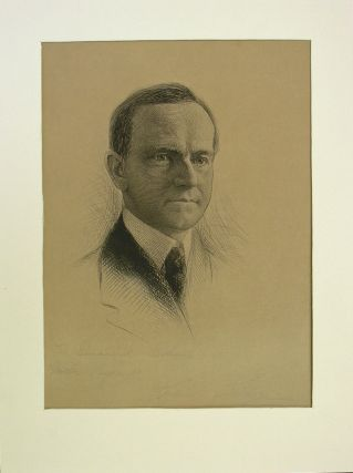 Engraved Portrait of Calvin Coolidge Inscribed by Coolidge in Pencil to a News Film Editor....
