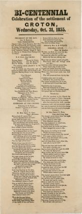 Broadside] Bi-Centennial Celebration of the Settlement of Groton, Wednesday, Oct. 31, 1855....