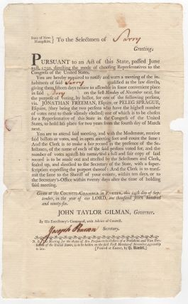 Broadside Signed] State of New-Hampshire. To the selectmen of [Surry] greeting. : Pursuant to an...