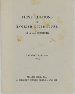 First Editions of English Literature 19th & 20th centuries Catalogue No. 996 (1979). Maggs Bros