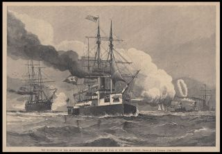 The Reception of the Brazilian Squadron of Ships of War in New York Harbor. Brazil. Nautical,...